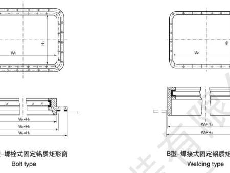 Fixed rectangular window for wheel house
